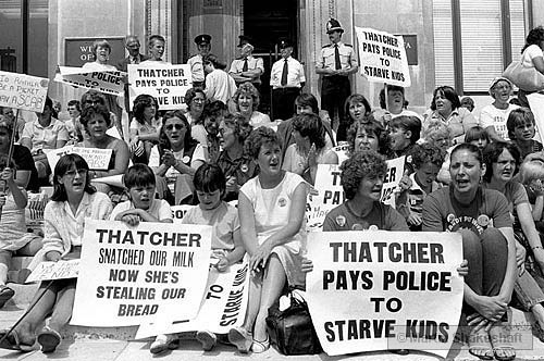 Welsh Office, Cardiff - 30 July 1984. Women and children demonstrating against £15 being deducted  from striking miners' benefit in lieu of strike pay (which was not being paid).